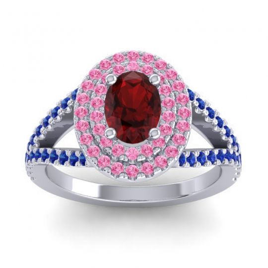 Ornate Oval Halo Dhala Garnet Ring with Pink Tourmaline and Blue Sapphire in Palladium