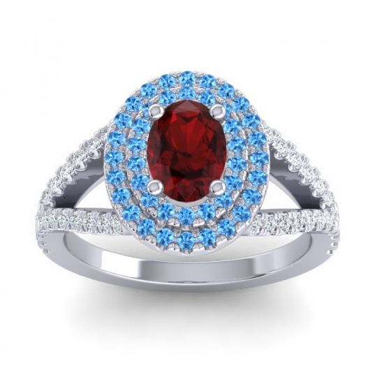Ornate Oval Halo Dhala Garnet Ring with Swiss Blue Topaz and Diamond in Palladium