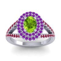 Ornate Oval Halo Dhala Peridot Ring with Amethyst and Ruby in 18k White Gold