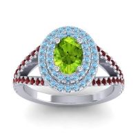 Ornate Oval Halo Dhala Peridot Ring with Aquamarine and Garnet in 18k White Gold