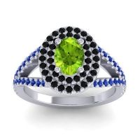 Ornate Oval Halo Dhala Peridot Ring with Black Onyx and Blue Sapphire in Platinum
