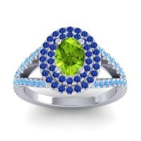 Ornate Oval Halo Dhala Peridot Ring with Blue Sapphire and Swiss Blue Topaz in 14k White Gold
