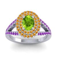 Ornate Oval Halo Dhala Peridot Ring with Citrine and Amethyst in Platinum