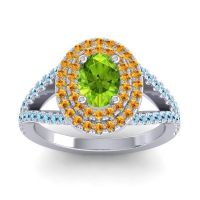 Ornate Oval Halo Dhala Peridot Ring with Citrine and Aquamarine in Platinum