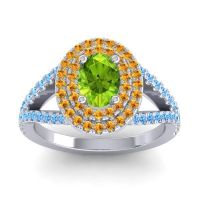 Ornate Oval Halo Dhala Peridot Ring with Citrine and Swiss Blue Topaz in 14k White Gold