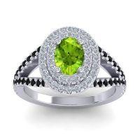 Ornate Oval Halo Dhala Peridot Ring with Diamond and Black Onyx in Palladium