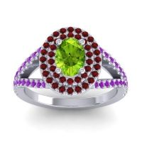 Ornate Oval Halo Dhala Peridot Ring with Garnet and Amethyst in 18k White Gold