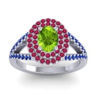 Ornate Oval Halo Dhala Peridot Ring with Ruby and Blue Sapphire in 18k White Gold