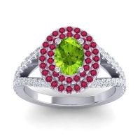 Ornate Oval Halo Dhala Peridot Ring with Ruby and Diamond in 18k White Gold