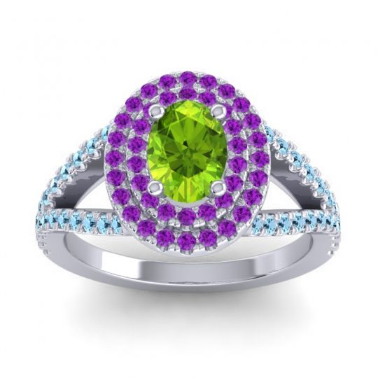 Ornate Oval Halo Dhala Peridot Ring with Amethyst and Aquamarine in Platinum
