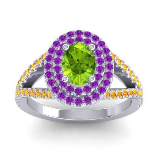 Ornate Oval Halo Dhala Peridot Ring with Amethyst and Citrine in Palladium