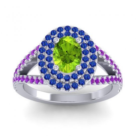 Ornate Oval Halo Dhala Peridot Ring with Blue Sapphire and Amethyst in 14k White Gold