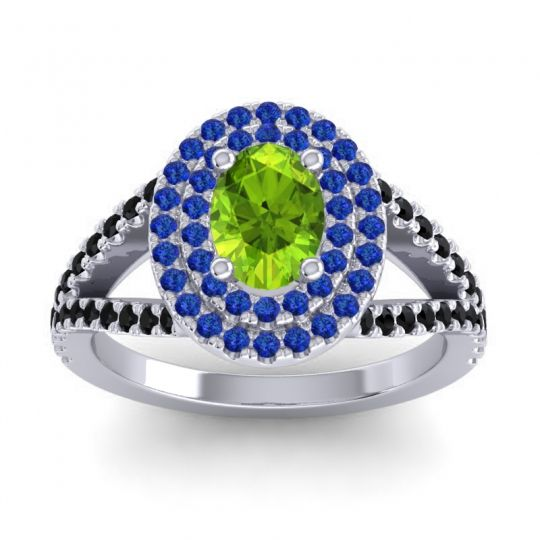 Ornate Oval Halo Dhala Peridot Ring with Blue Sapphire and Black Onyx in 18k White Gold