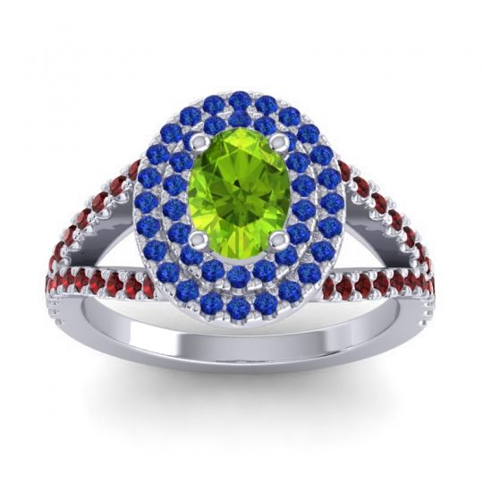 Ornate Oval Halo Dhala Peridot Ring with Blue Sapphire and Garnet in Palladium