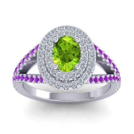 Ornate Oval Halo Dhala Peridot Ring with Diamond and Amethyst in 18k White Gold
