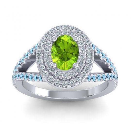 Ornate Oval Halo Dhala Peridot Ring with Diamond and Aquamarine in Palladium