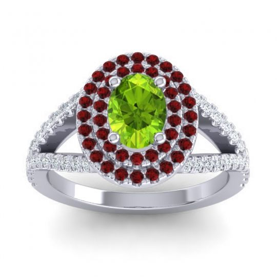 Ornate Oval Halo Dhala Peridot Ring with Garnet and Diamond in Palladium