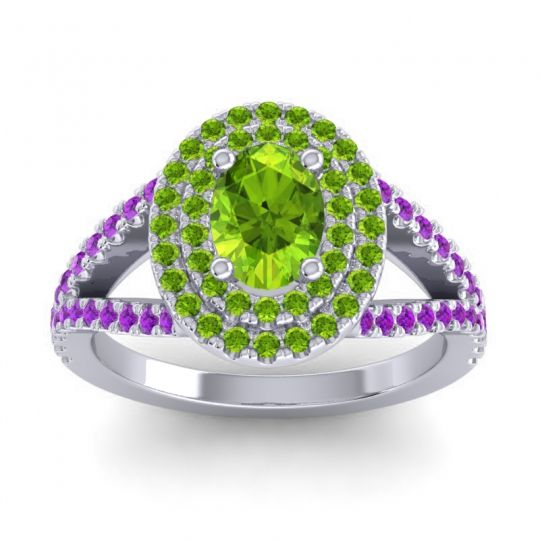 Ornate Oval Halo Dhala Peridot Ring with Amethyst in Platinum