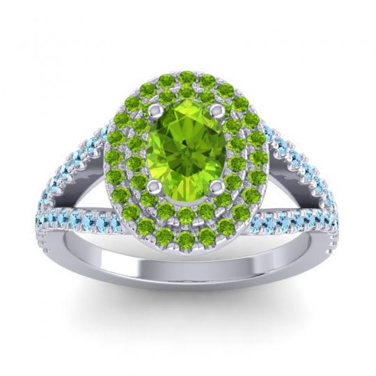 Ornate Oval Halo Dhala Peridot Ring with Aquamarine in Palladium
