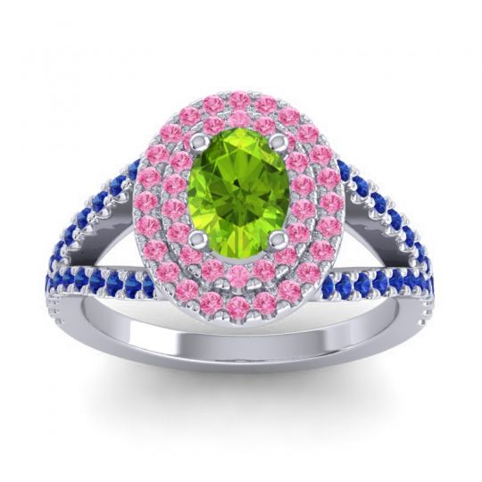 Ornate Oval Halo Dhala Peridot Ring with Pink Tourmaline and Blue Sapphire in 18k White Gold