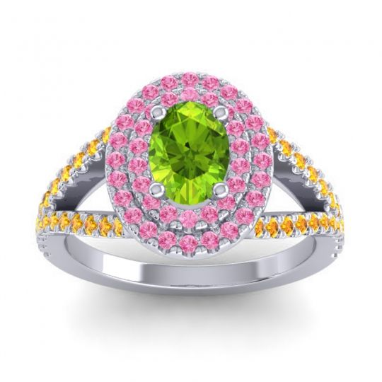Ornate Oval Halo Dhala Peridot Ring with Pink Tourmaline and Citrine in 18k White Gold
