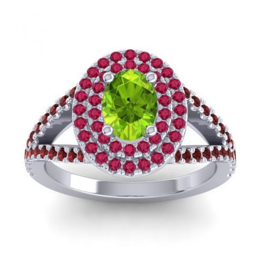 Ornate Oval Halo Dhala Peridot Ring with Ruby and Garnet in 18k White Gold