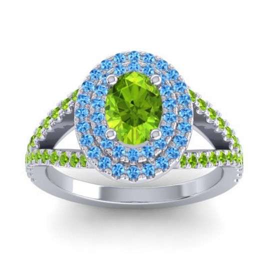 Ornate Oval Halo Dhala Peridot Ring with Swiss Blue Topaz in 18k White Gold