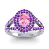Ornate Oval Halo Dhala Pink Tourmaline Ring with Amethyst in 14k White Gold
