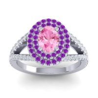 Ornate Oval Halo Dhala Pink Tourmaline Ring with Amethyst and Diamond in Platinum