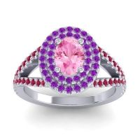 Ornate Oval Halo Dhala Pink Tourmaline Ring with Amethyst and Ruby in Platinum