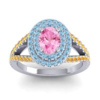 Ornate Oval Halo Dhala Pink Tourmaline Ring with Aquamarine and Citrine in 14k White Gold