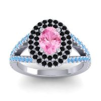 Ornate Oval Halo Dhala Pink Tourmaline Ring with Black Onyx and Swiss Blue Topaz in 14k White Gold