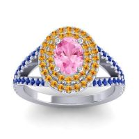 Ornate Oval Halo Dhala Pink Tourmaline Ring with Citrine and Blue Sapphire in Palladium