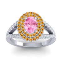 Ornate Oval Halo Dhala Pink Tourmaline Ring with Citrine and Diamond in 14k White Gold