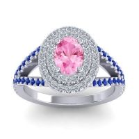Ornate Oval Halo Dhala Pink Tourmaline Ring with Diamond and Blue Sapphire in 18k White Gold