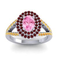 Ornate Oval Halo Dhala Pink Tourmaline Ring with Garnet and Citrine in 18k White Gold