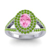 Ornate Oval Halo Dhala Pink Tourmaline Ring with Peridot in 18k White Gold