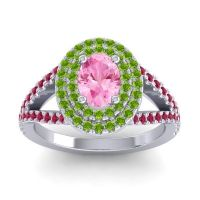 Ornate Oval Halo Dhala Pink Tourmaline Ring with Peridot and Ruby in Palladium