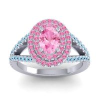 Ornate Oval Halo Dhala Pink Tourmaline Ring with Aquamarine in 18k White Gold
