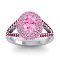Ornate Oval Halo Dhala Pink Tourmaline Ring with Ruby in 14k White Gold