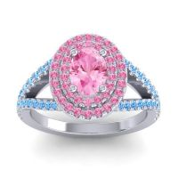 Ornate Oval Halo Dhala Pink Tourmaline Ring with Swiss Blue Topaz in 18k White Gold