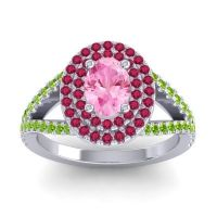 Ornate Oval Halo Dhala Pink Tourmaline Ring with Ruby and Peridot in 14k White Gold