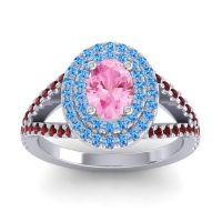 Ornate Oval Halo Dhala Pink Tourmaline Ring with Swiss Blue Topaz and Garnet in Palladium