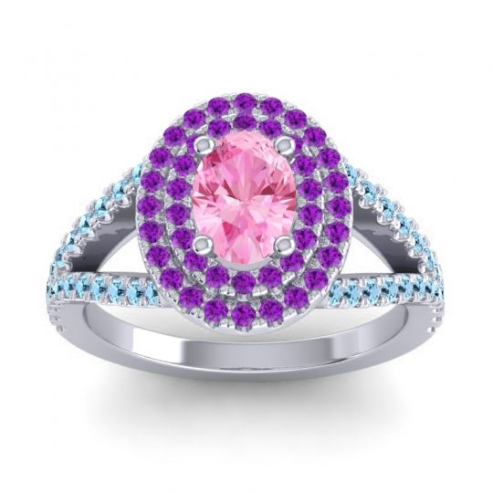 Ornate Oval Halo Dhala Pink Tourmaline Ring with Amethyst and Aquamarine in Platinum