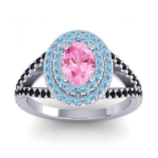 Ornate Oval Halo Dhala Pink Tourmaline Ring with Aquamarine and Black Onyx in 14k White Gold
