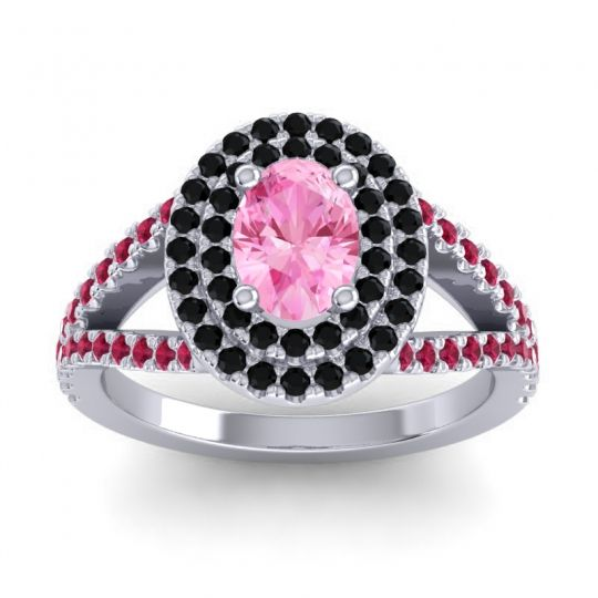 Ornate Oval Halo Dhala Pink Tourmaline Ring with Black Onyx and Ruby in Platinum