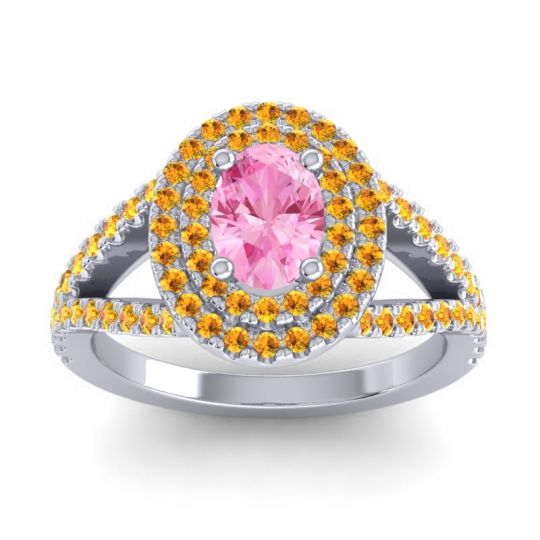 Ornate Oval Halo Dhala Pink Tourmaline Ring with Citrine in 18k White Gold