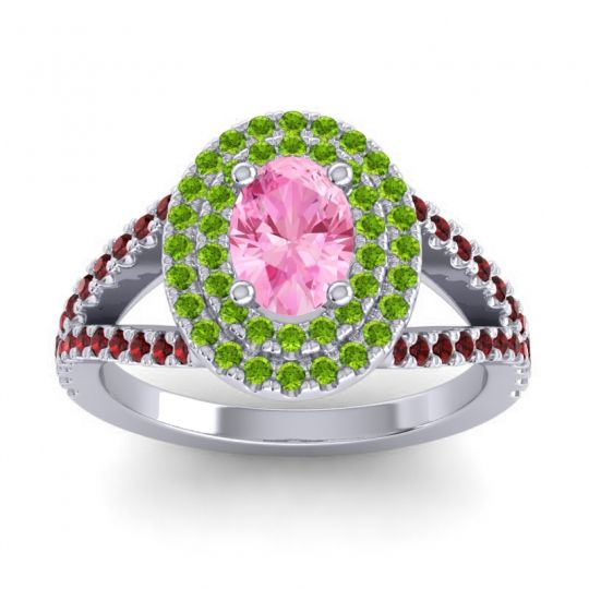 Ornate Oval Halo Dhala Pink Tourmaline Ring with Peridot and Garnet in Palladium