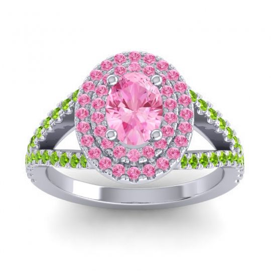 Ornate Oval Halo Dhala Pink Tourmaline Ring with Peridot in Palladium