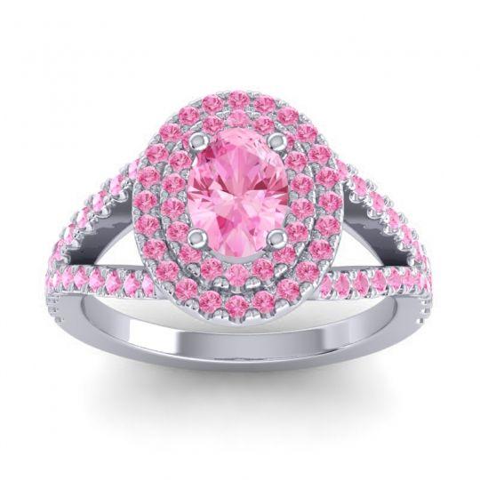 Ornate Oval Halo Dhala Pink Tourmaline Ring in Platinum